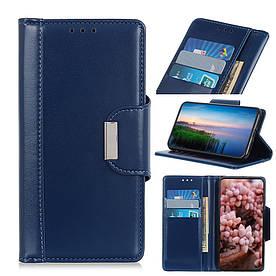 Чехол книжка для Samsung Galaxy A20e A202FD боковой с отсеком для визиток и магнитной застежкой, синий