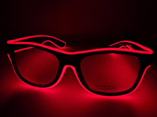 Светящиеся светодиодные неоновые очки красные, фото 2