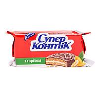 Печенье Супер-Контик с орехом в шоколадно-молочной глазури 100г 10154307
