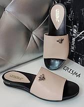 Женские кожаные шлепанцы на плоской подошве 36-40р, фото 3