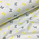 Ткань поплин бабочки серо-желтые на белом редкие (ТУРЦИЯ шир. 2,4 м) №32-196, фото 4