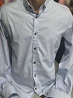 Чоловіча сорочка в дрібну голубу клітинку. Slim Fit.Туреччина.