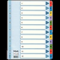 """Разделитель Разделители картонные A4 """"Mylar"""" 1-12 Esselte 100162"""