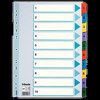 """Разделитель Разделители картонные A4 """"Mylar"""" 1-10 Esselte 100161"""