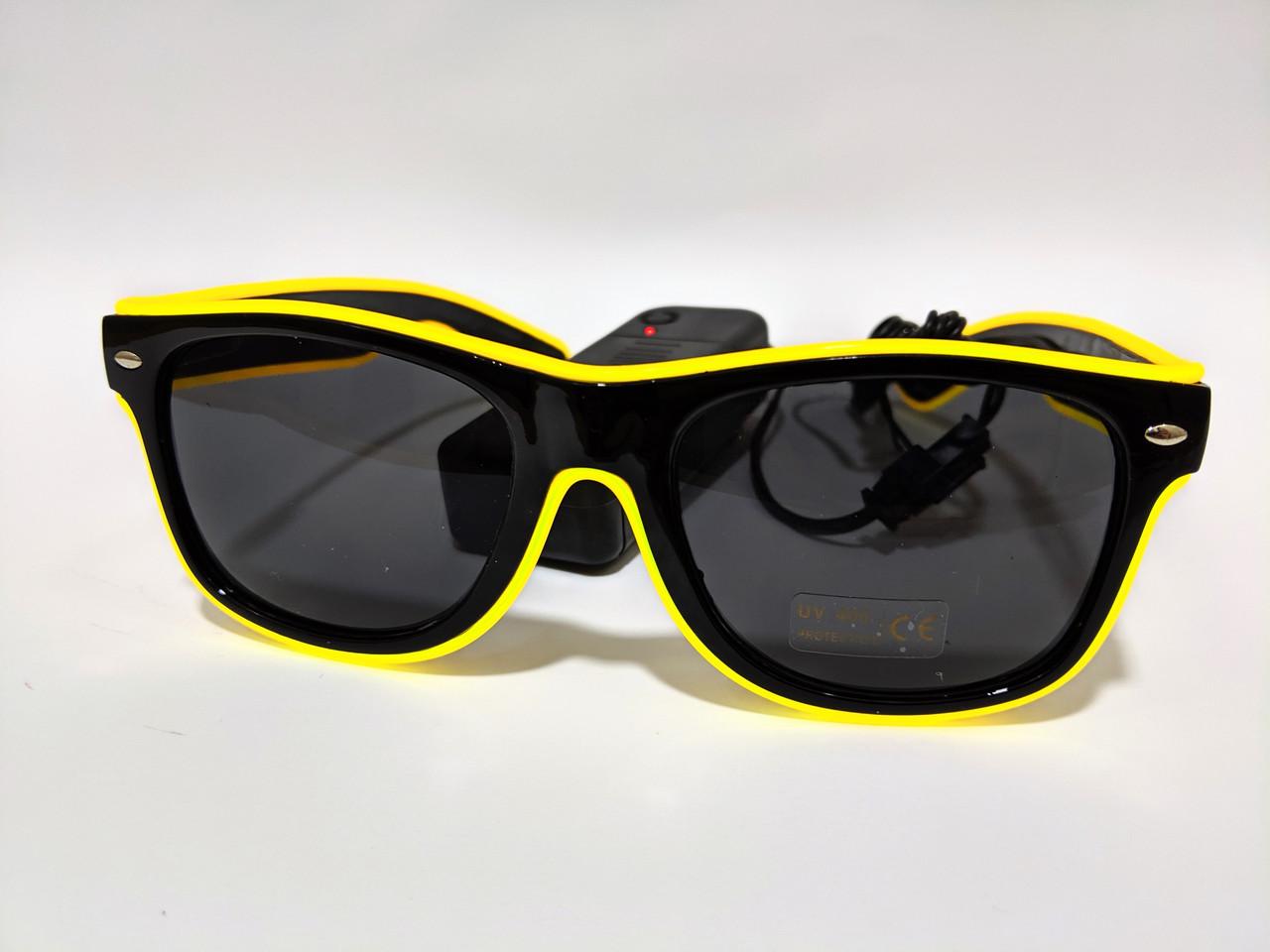Светящиеся светодиодные неоновые очки для вечеринок желтые