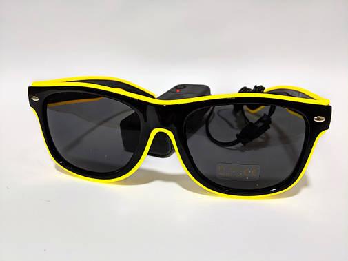 Светящиеся светодиодные неоновые очки для вечеринок желтые, фото 2