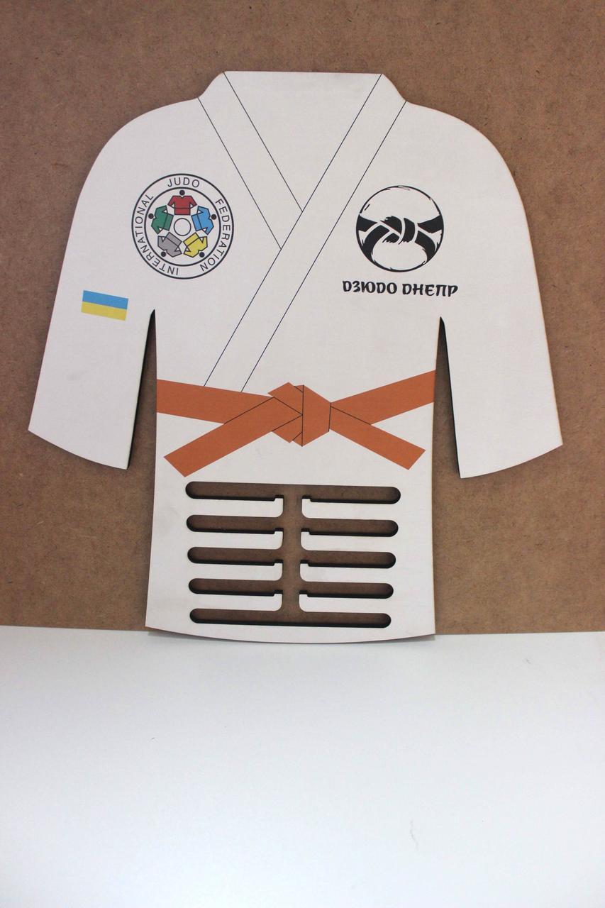 """Медальница """"Кимоно дзюдо"""". Держатель для медалей. Холдер для медалей из фанеры"""