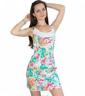 Сарафан льняной с цветочным принтом бирюзового цвета, сарафан летний удобный миди, платье молодежное красивое, фото 1