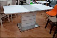 Стол раскладной Хьюстон DT-9123-1 ультра белый, столешница белое сатиновое стекло 1200-1600х800х760
