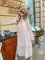 Женское пудровое шифоновое платье р. SM, LXL