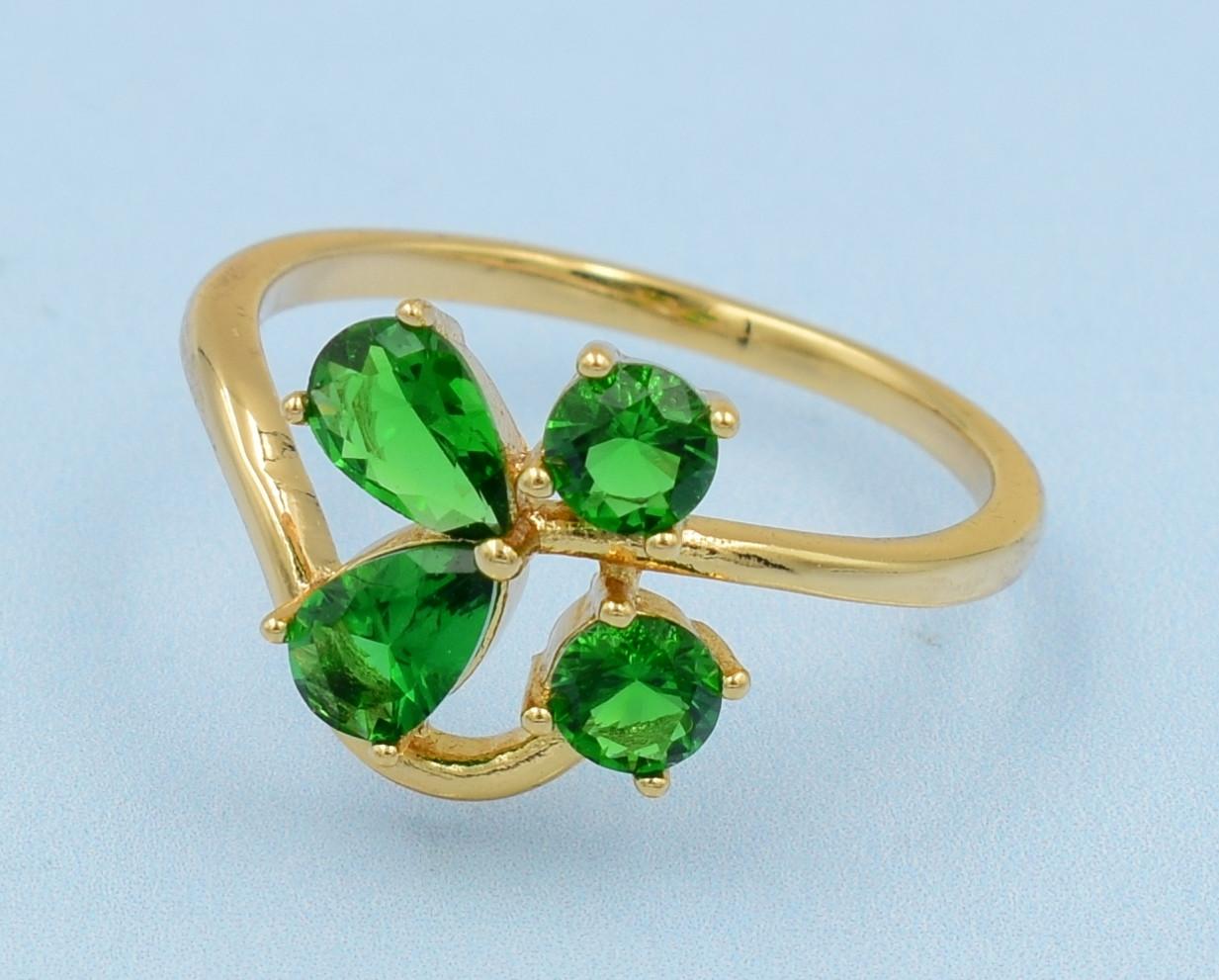 XUPING Кольцо Позолота 18к с зелеными цирконами Размер 16.5,17,18,18.5,19.5