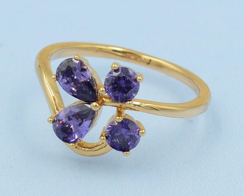 XUPING Кольцо Позолота 18к с фиолетовыми цирконами Размер 16,17,17.5,18,18.5,19