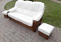 Кожаный диван раскладной «Латте»