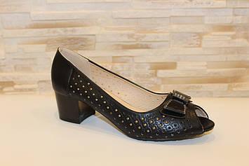 Туфлі жіночі літні, чорні на зручному каблуці Б207