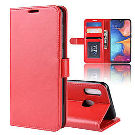 Чехол книжка для Samsung Galaxy A20e A202FD боковой с отверстием под динамик, Гладкая кожа, красный