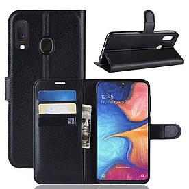 Чехол книжка для Samsung Galaxy A20e A202FD боковой с отсеком для визиток, черный