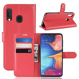 Чехол книжка для Samsung Galaxy A20e A202FD боковой с отсеком для визиток, красный