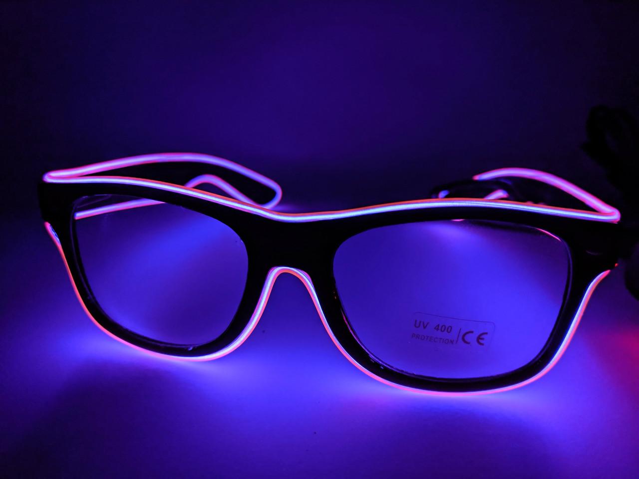 Неоновые очки фиолетовые