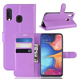 Чехол книжка для Samsung Galaxy A20e A202FD боковой с отсеком для визиток, фиолетовый