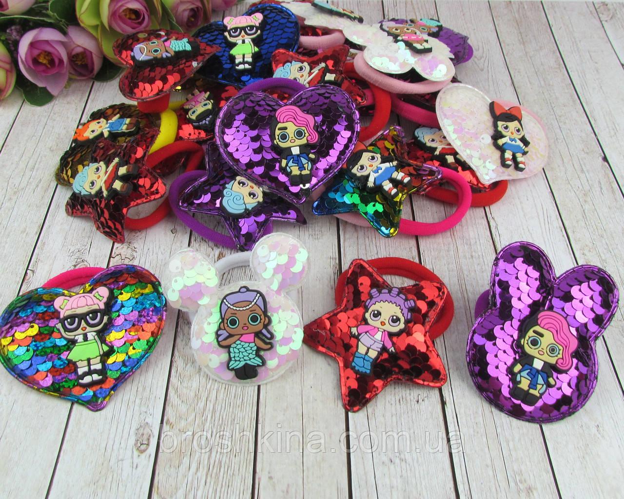 Детские резинки для волос с пайетками LOL микс модели и цвета 24 шт/уп.