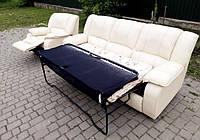 Кожаный диван и кресло реклайнер раскладной «Росси»