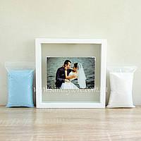 Набор для свадебной песочной церемонии: Рамка под фото + песок (белая)