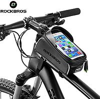 """Велосумка на раму RockBros козырек черная до 6"""". Водонепроницаемая. Вело сумка отличного качества"""
