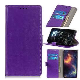 Чехол книжка для LG Q60 боковой с отсеком для визиток, Гладкая кожа, фиолетовый