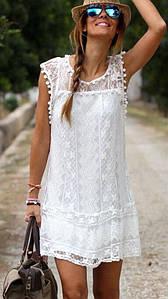 Женская легкая платье туника  белая  S