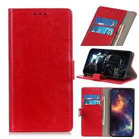 Чехол книжка для LG Q60 боковой с отсеком для визиток, Гладкая кожа, красный
