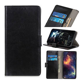Чехол книжка для LG Q60 боковой с отсеком для визиток, Гладкая кожа, черный