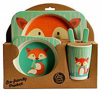 Набор детской посуды из бамбукового волокна Elite Lux 5 приборов Лисичка