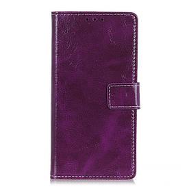Чехол книжка для LG Q60 боковой с отсеком для визиток, Crazy Horse Vintage, фиолетовый