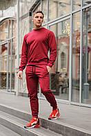 Спортивный костюм мужской весна-лето-осень (бордовый свитшот + бордовые штаны)