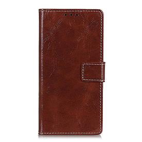 Чехол книжка для LG Q60 боковой с отсеком для визиток, Crazy Horse Vintage, коричневый