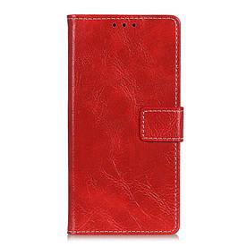 Чехол книжка для LG Q60 боковой с отсеком для визиток, Crazy Horse Vintage, красный