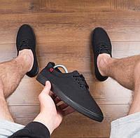 Мужские кеды текстильные легкие на лето для повседневной носки (черные) , фото 1