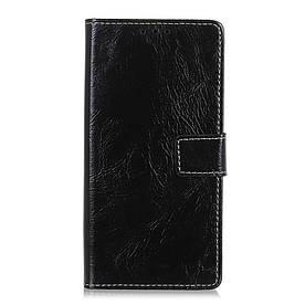 Чехол книжка для LG Q60 боковой с отсеком для визиток, Crazy Horse Vintage, черный