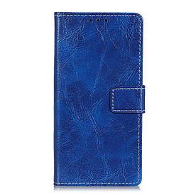 Чехол книжка для LG Q60 боковой с отсеком для визиток, Crazy Horse Vintage, синий