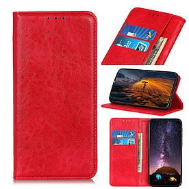 Чехол книжка для LG Q60 боковой с отсеком для визиток и встроенной магнитной застежкой, Гладкая кожа, красный