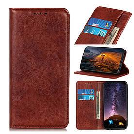 Чехол книжка для LG Q60 боковой со встроенной магнитной застежкой, Гладкая кожа, коричневый