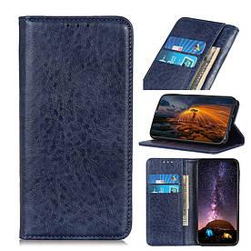 Чехол книжка для LG Q60 боковой с отсеком для визиток и встроенной магнитной застежкой, Гладкая кожа, синий