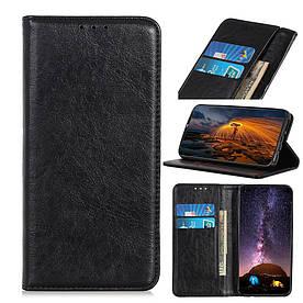 Чехол книжка для LG Q60 боковой с отсеком для визиток и встроенной магнитной застежкой, Гладкая кожа, черный
