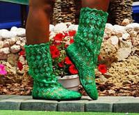 Зеленые летние стильные кружевные ажурные гипюровые женские сапожки . Арт-0031, фото 1