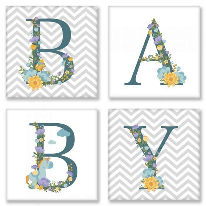 Картина по номерам Квартет Слово BABY Скандинавия CH108 Идейка 4 шт. по 18 х 18 см