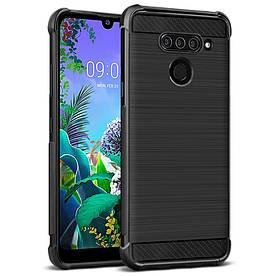 Чехол накладка для LG Q60 силиконовый IMAK, Carbon Fiber, черный
