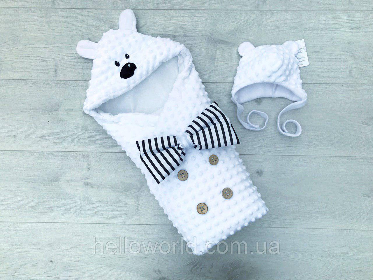 """Конверт-одеяло """"Мишка"""" белый"""