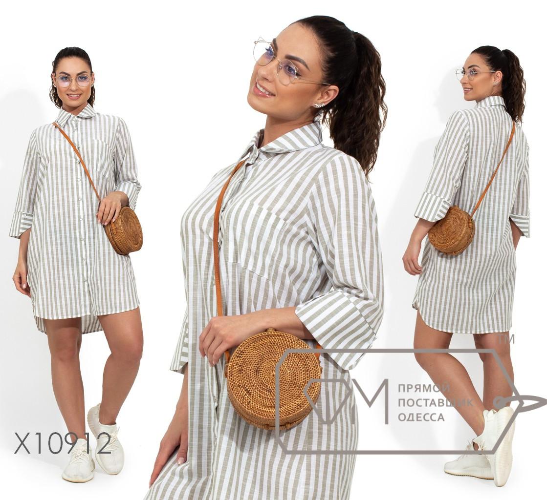 Платье-рубашка в полоску, серый