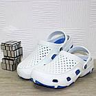Мужские кроксы, размеры 44, 45 Шлепанцы для медиков сабо белые с синим., фото 5