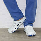 Мужские кроксы, размеры 44, 45 Шлепанцы для медиков сабо белые с синим., фото 4